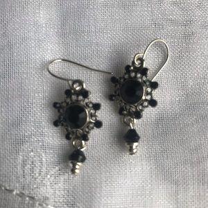 Cute Silver and Black Earrings